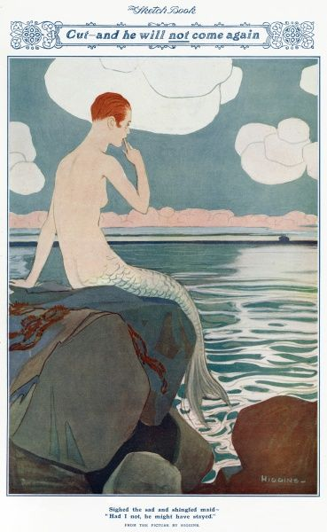 An illustration showing a mermaid with the shorn, shingled Eton crop hairstyle of the 1920s, looking rather forlorn as she waits for her lover to return. Unfortunately, because she has cut off all her beautiful locks in a fit of hysterical feminism