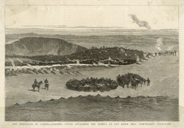 RIEL REBELLION Colonel Otter attacking the Riel rebels at Cut Knife Hill. Armed with only 2 cannons he was soon forced to retreat