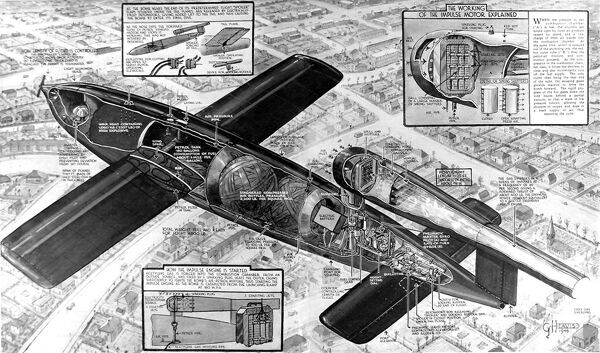 Cutaway diagram of the German V-1 'Flying Bomb', showing the inner workings of this rocket propelled bomb, 1944