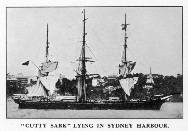 The 'Cutty Sark' in Sydney harbour, drying her sails