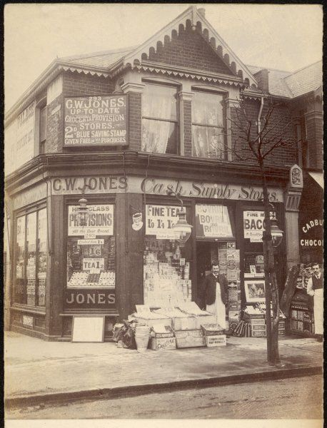 The exterior of C W Jones' Cash Supply Stores at 393 High Street, East Ham in London