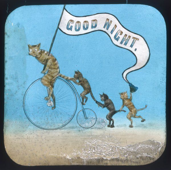 A ginger tom with a Cheshire cat grin whizzes by on a penny farthing with 3 kittens in tow as he wishes us 'Good Night' from a banner. Probably the final slide of the evening