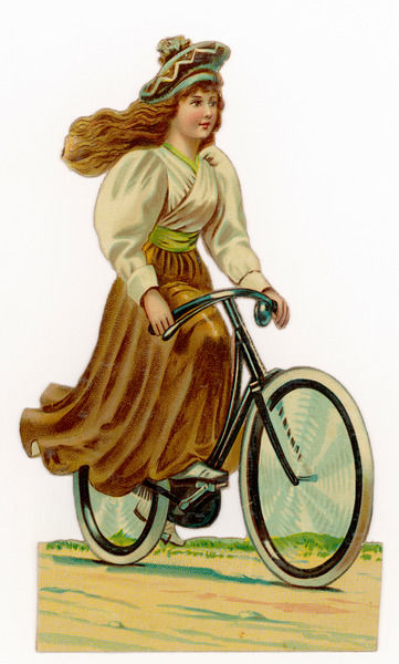 A girl cycles happily on a bicycle that's rather too small for her, and which at any moment may catch her skirt and cause a nasty accident
