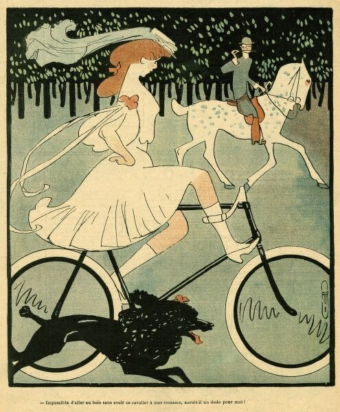 A sporty young lady removes her hands from the handlebars as she pedals through the Bois de Boulogne, Paris, with an independent air... Date: 1904
