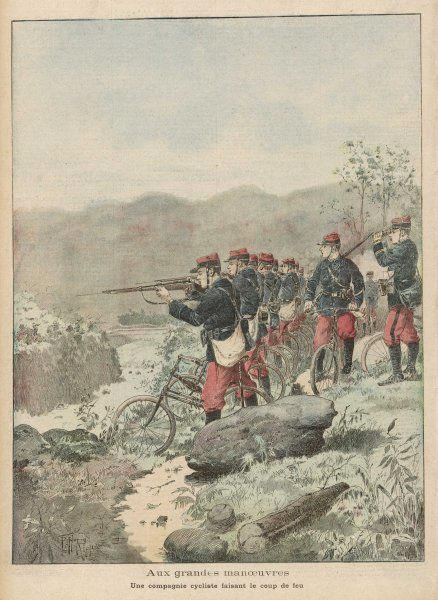 The Compagnie Cycliste of the French Army take part in the annual manoeuvres, pedalling rapidly to the high ground before firing on the enemy