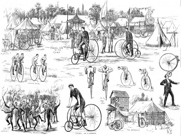 Engraving showing a series of scenes from the Cyclist's Camp, which was held in Alexandra Park, London, in the Summer of 1884. The images show tricycles, 'penny farthing' bicycles and even 'penny farthing' tandem races