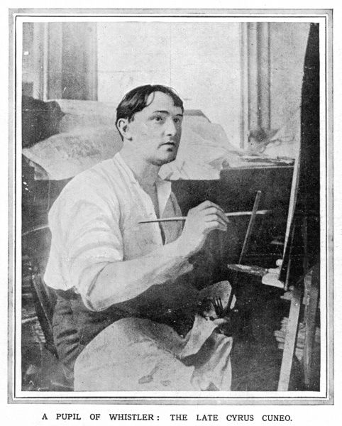 Cyrus Cincinnato Cuneo, special artist of the Illustrated London News, pictured at work