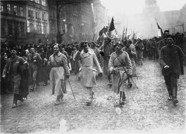 A Czechoslovak regiment returns from fighting in France at the end of World war I. Volunteer Czechs and Slovaks fought on several fronts during the war, in the interests of gaining allied support for the creation of an independent Czechoslovakia