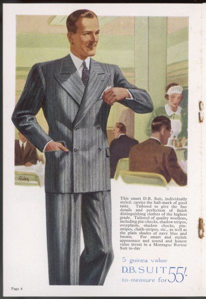 A businessman in smart grey, striped double-breasted suit with broad, long lapels & loose fit trousers