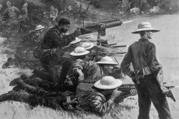 (Now Benin.) Colonel Hamilton and his men open fire
