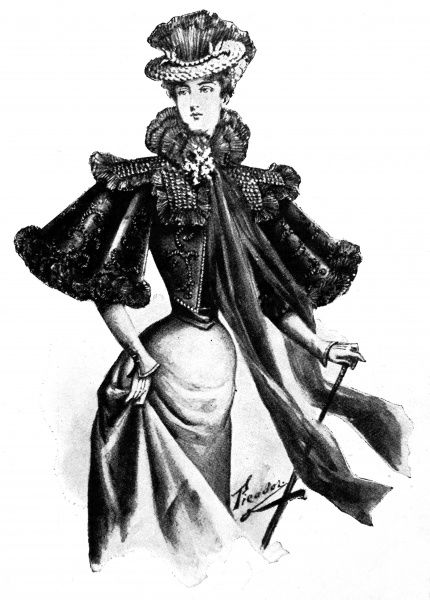 A smart cape made from chiffon decorated with sequins. The chiffon forms into a ruffle which floats gracefully with movement. Similar capes can also be made from velvet trimmed with ecru lace