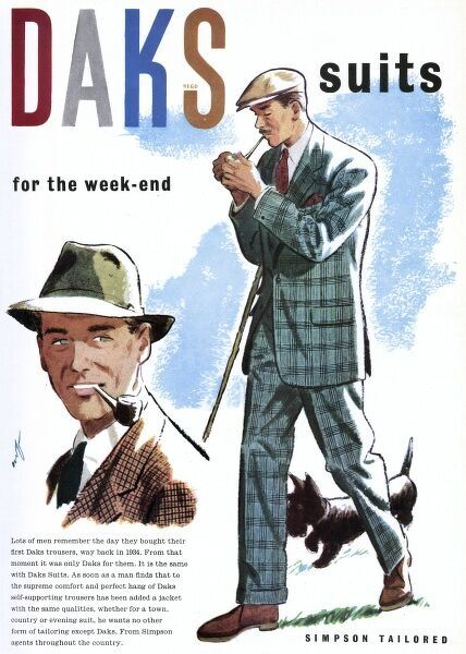Advertisement for Daks suits, featuring a couple of chaps sporting checked suits, and smoking pipes. Date: 1951