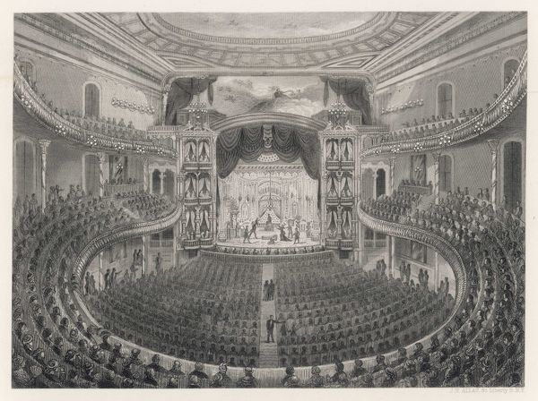 Augustin Daly, American theatrical manager & dramatist, opened his first theatre on Broadway in 1869. This picture shows a full house enjoying a performance