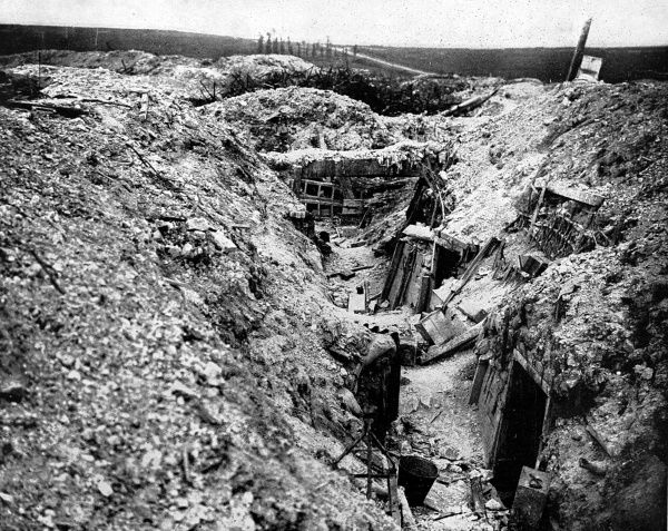Photograph of a German trench near the French village of Ovillers-la-Boiselle, damaged by Allied artillery bombardment and later captured by the British army