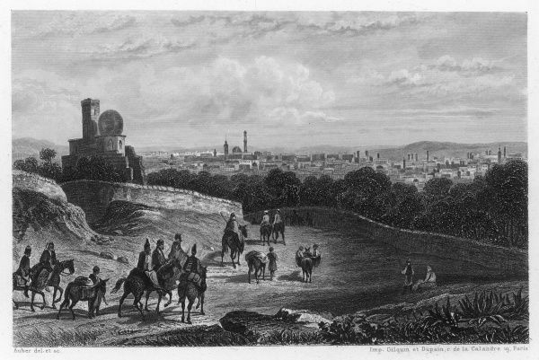 Distant view of Damascus, with travellers approaching on horseback
