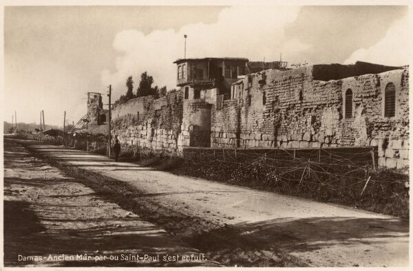 Damascus, Syria - Ancient Walls, from whence St. Paul, after being lowered down, fled in haste down the road that leads to Jerusalem. Date: circa 1910s