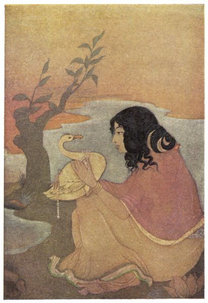 In return for not being caught by king Nala, a swan sings the king's praises to Damayanti, a princess who was reputedly the most beautiful woman in the world