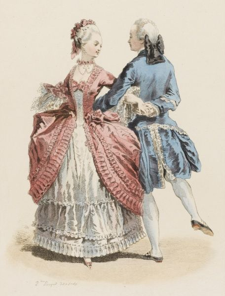 A fashionable couple cavorting at the court of Louis XV