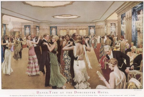 This painting by Matania shows people dancing in the ballroom of the Dorchester Hotel in Park Lane