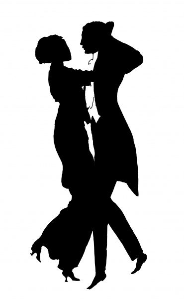 Silhouette of a couple dancing the Argentine Tango 1908