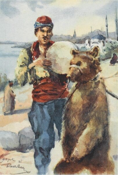 A musician singing and playing a tamborine and his dancing bear at Constantinople, Turkey