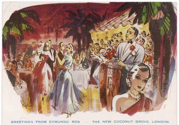 Elegant couples dine and dance to the calypso beat of Edmundo Ros and his band at the New Coconut Grove, Regent Street, London