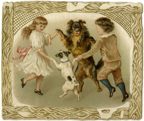 Two children dance with their two dogs, one of whom stands as tall as themselves. Date: 1890s