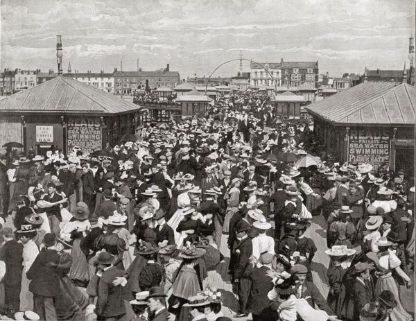 One of the piers at Blackpool, Lancashire, packed with dancing couples