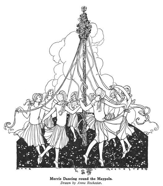 Girls dance round a maypole