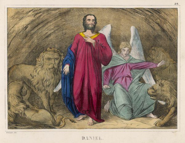 He is cast into a cellar full of lions, but an angel persuades them not to eat him