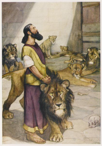 Conspirators jealous of Daniel's favour with Darius, king of Babylon, devise a plot which leads to Daniel being placed in a lion's den. But the lion doesn't molest him