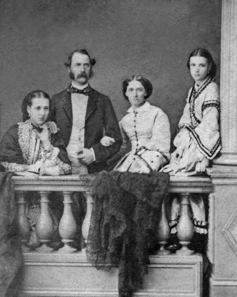 Princess Alexandra of Denmark, later Queen Alexandra of Great Britain (1844-1925) together with her father, King Christian IX of Denmark and Queen Louise and her younger sister Dagmar (far left), later Tsaritsa of Russia