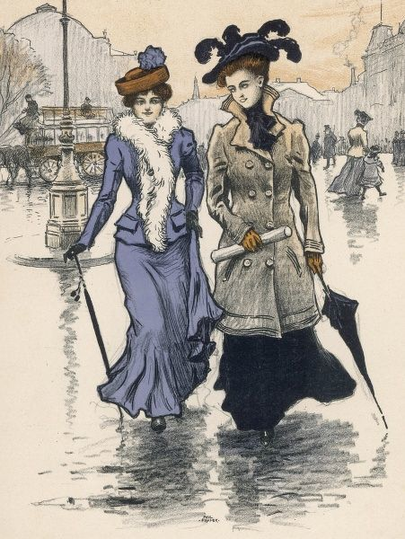 Two Danish ladies on a wet street - one wears a tailored costume & white feather boa, the other wears a 3/4 length D-B coat with high stand collar & plume adorned hat