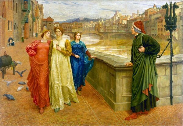 Dante Alighieri, Italian poet, best known for his long narrative poem, the Divine Comedy, sees his beloved Beatrice Portinari on the Lung'Arno, Florence