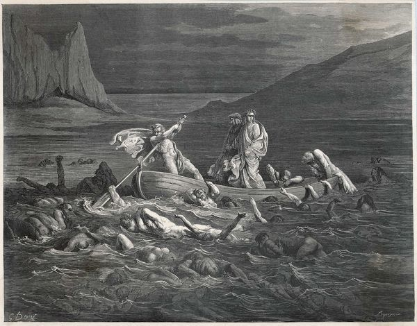 Charon, the ferryman of the Styx, carries Dante and Virgil to the Underworld