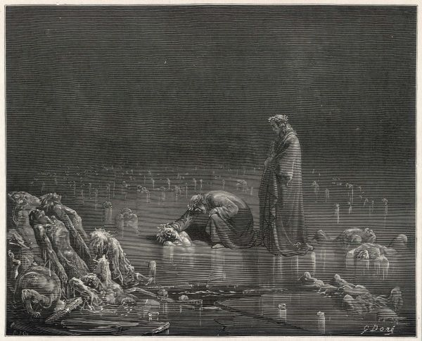 Dante & Virgil contemplate the sinners who have been punished by being placed up to their necks in ice