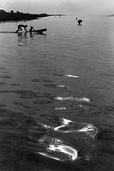 Boys playing on a boat on the River Danube, Budapest, Hungary. Date: 1930s