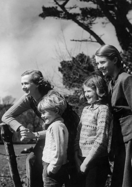 "DAPHNE DU MAURIER English novelist and writer, author of ""Rebecca"" and ""Jamaica Inn"" pictured with her children, Christian, Flavia and Tessa in 1947"