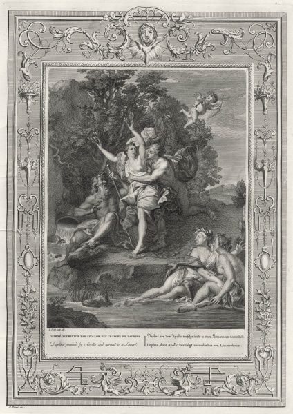 Daphne, daughter of the river- god Peneus, takes Apollo's fancy, but preferring virginity is changed into a laurel, which Apollo thereafter wears in her honour