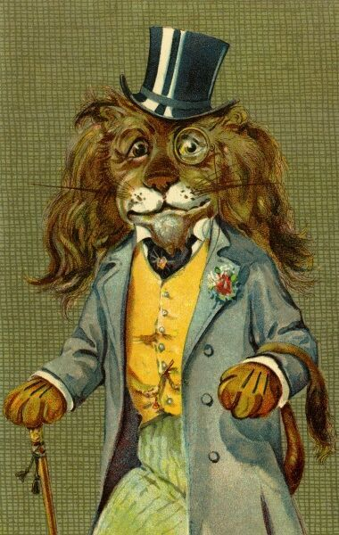 Dapper lion by gh Thompson. George Henry Thompson (1859-1959) specialised in illustrating humorous animals. He was also a landscape painter. This image in books and postcards by Ernest Nister. Date: circa 1904
