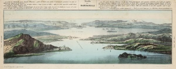 Schematic view of the Dardanelles showing Gallipoli and looking towards Istanbul and the Black Sea : the strategic importance of the straits is clearly displayed