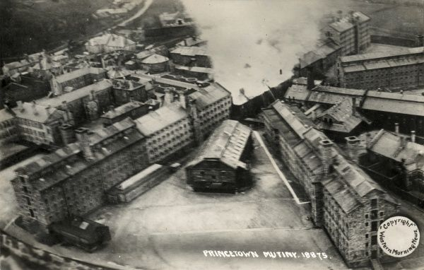 An aerial view of Dartmoor Prison, Princetown, Devon, during a major disturbance there in January 1932