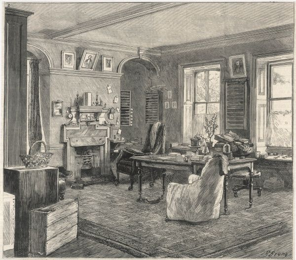 Charles Darwin's home at Downe, in Kent - the study