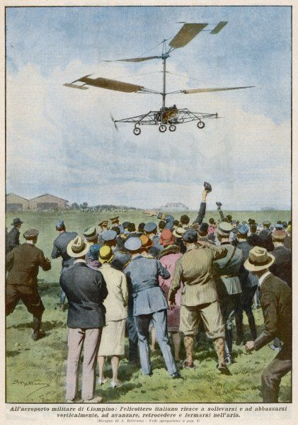 Italian inventor D'Ascania successfully demonstrates his helicopter at Ciampino Airport, Rome
