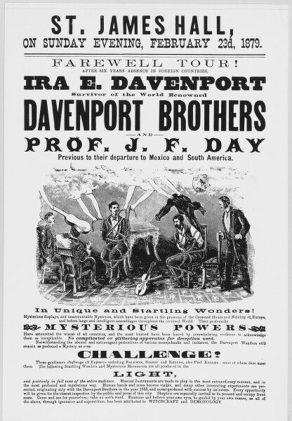 Poster for the brothers William and Ira Davenport, who pretended to be spirit mediums but were actually clever stage magicians