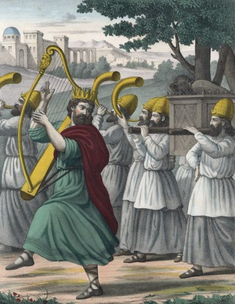 David recovers the Ark of the Covenant from the Philistines and brings it back in triumph, dancing at the head of the procession though his wife thinks this is undignified