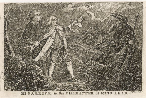 DAVID GARRICK English actor, producer and dramatist plays the part of Shakespeare's King Lear. Date: 1717 - 1779