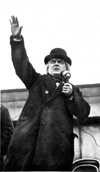 Photograph of David Lloyd-George, 1st Earl Lloyd-George of Dwyfor, the Welsh Liberal statesman, addressing a large crowd at Rochdale during the election campaign of 1923. Forgetting he was using a microphone to address the people of Rochdale