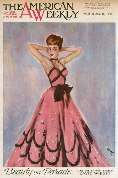Elegant woman with brown hair, wearing a low-cut pink and black evening dress with silver sequins. She is holding her hands behind her head, as if fixing her hair. David Wright (1912 - 1967), was a popular British artist specialising in glamour