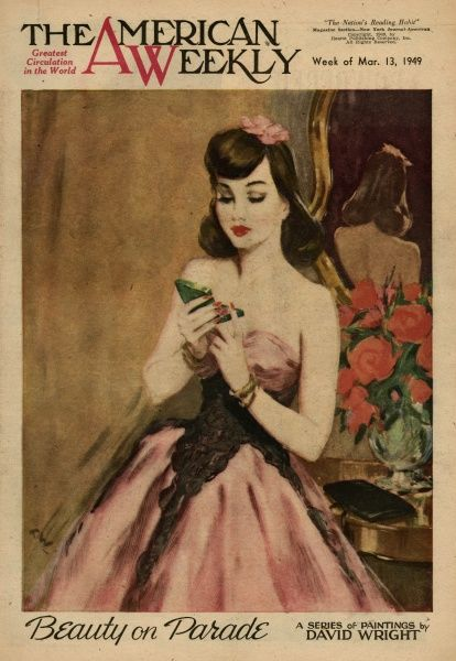 Elegant woman in a pink and black low-cut evening dress, looking in a mirror to check her makeup